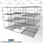 "Three Deep Lateral Wire Shelving shelves rolling on wheels moveable stoage SMS-94-LAT-2436-32-T overall size is 5935.7 inches wide x 9' 8"" deep x 116 inches high"