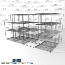 "3 Deep High Capacity Wire Racking mobile chrome wire storage with 4 shelves SMS-94-LAT-2436-43-T overall size is 8357 inches wide x 12' 11"" deep x 155 inches high"