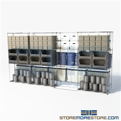 "Double Deep Side To Side Wire Shelves food service zinc wire shelves on rails SMS-94-LAT-2436-54 overall size is 5964.8 inches wide x 16' 1"" deep x 193 inches high"