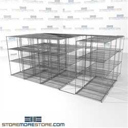 "Quad Deep Gliding Wire Racking high density food storage rolling zinc shelves SMS-94-LAT-2436-54-Q overall size is 15650.4 inches wide x 16' 1"" deep x 193 inches high"