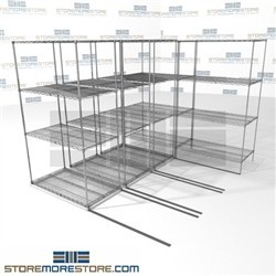 "Four Deep Mobile Wire Racks Bulk item shelves moving carriage on wheels SMS-94-LAT-2442-21-Q overall size is 5330.1 inches wide x 7' 6"" deep x 90 inches high"