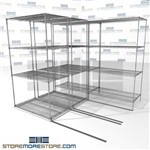 "Three Deep Sliding Wire Shelves canned goods gliding chrome wire shelves 3 deep SMS-94-LAT-2442-21-T overall size is 3767.7 inches wide x 7' 6"" deep x 90 inches high"