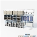 "2 Deep Lateral Wire Racking electronics supply manual push wire racks SMS-94-LAT-2442-32 overall size is 3441.4 inches wide x 11' 2"" deep x 134 inches high"