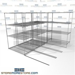 "4 Deep Lateral Wire Racks Medical office storage supply storage racks SMS-94-LAT-2448-21-Q overall size is 5577.8 inches wide x 8' 6"" deep x 102 inches high"