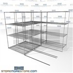 "3 Deep Mobile Wire Shelves back and forth moving trilateral shelving SMS-94-LAT-2448-21-T overall size is 3921.2 inches wide x 8' 6"" deep x 102 inches high"