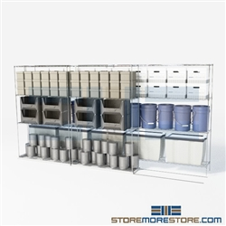 "Double Deep Rolling Wire Racking Industrial wire bilateral storage shelves SMS-94-LAT-2448-32 overall size is 3672.5 inches wide x 12' 8"" deep x 152 inches high"