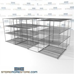 "Three Deep Side To Side Wire Racking chrome wire office shelving on wheels SMS-94-LAT-2448-43-T overall size is 9174.6 inches wide x 16' 11"" deep x 203 inches high"