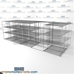 "3 Deep Moving Wire Racks Industrial wire tri-store lateral shelves SMS-94-LAT-2448-54-T overall size is 11814.8 inches wide x 21' 1"" deep x 253 inches high"