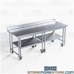 Nesting Table Set Stainless Backsplash Hospital Worktable Lab Bench NT4BS3084-72