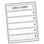"Laserjet Label Stock, 6 Labels Per Sheet, 8""H x 1.5""W, 600 Labels Per Package, #SMS-95-8962"