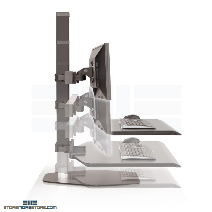 Adjustable Three Monitor Sit to Standing Position Desk Unit Push