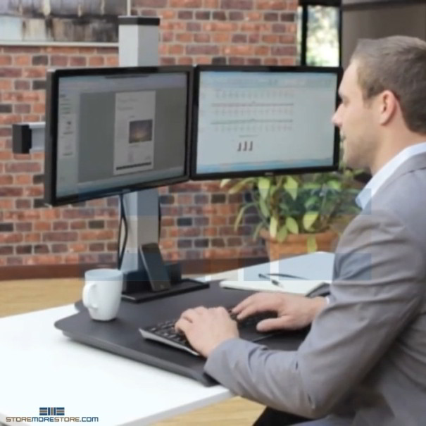 Sit Stand Adjustable Height Three Monitor Computer