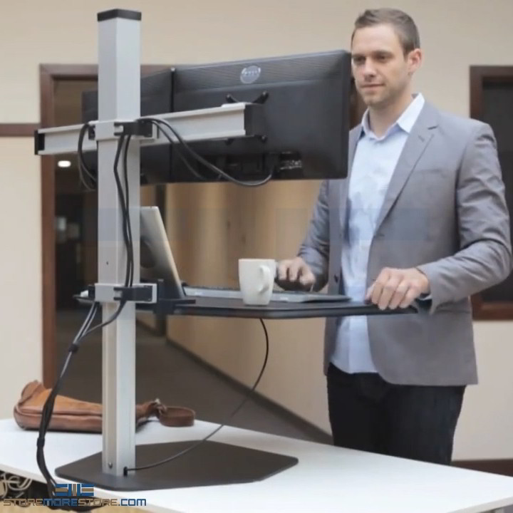 Sit Or Standing 4 Monitor Push Button Ergonomic Stand