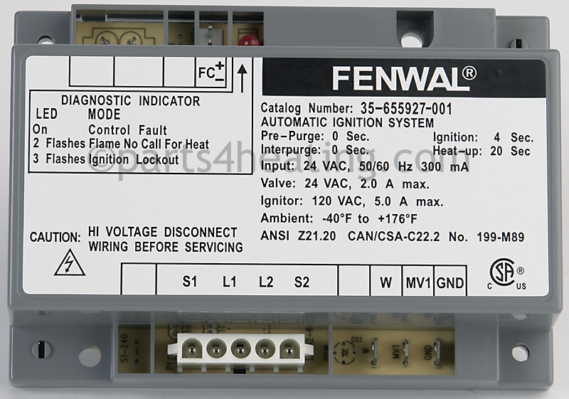 Fenwal Ignition System Wiring Diagram Diagrams Free. Parts4heating Fenwal 35655927001 Ignition Control 24 Vac Hot Rhparts4heating System Wiring Diagram At. Wiring. Fenwal Wiring Diagrams At Scoala.co