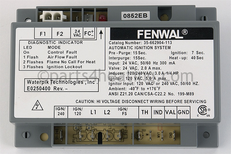 Fenwal 35-662904-113 Ignition Control 24 VAC Hot Surface W/Blower Relay on