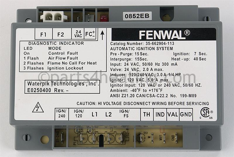 fenwal ignition module wiring diagram parts4heating com fenwal 35 662904 113 ignition control 24 vac  fenwal 35 662904 113 ignition control