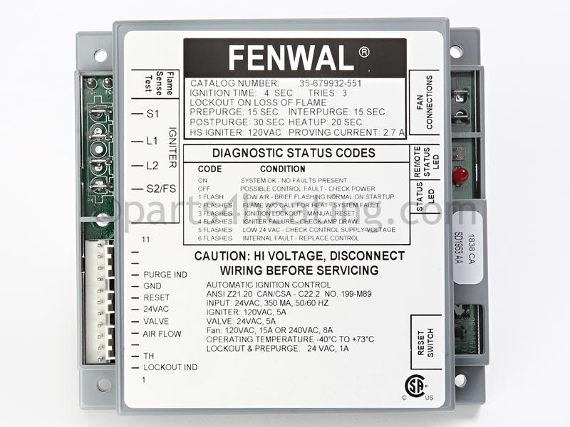 fenwal ignition module wiring diagram parts4heating com fenwal 35 679932 551 ignition control 24 vac  fenwal 35 679932 551 ignition control