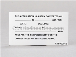 Raypak 900866 DECAL Conversion Label