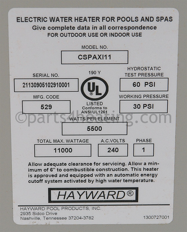 Parts4heating Com Hayward Cspaxi11 Comfortzone C Spa Xi
