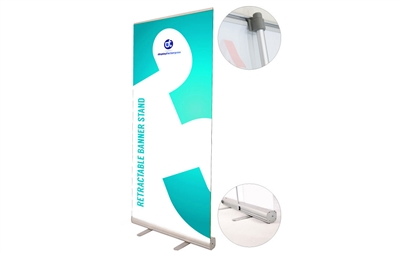"Never Fall Retractable Banner Stand 33.5x80"" (Graphic Package)"