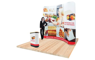8ft Tension Fabric Display - Slim Wave with graphic package