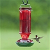 Vintage Red Glass Hummingbird Feeder, 16 oz