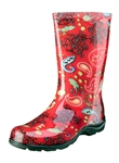 Slogger Women's Rain Boot Red Paisley
