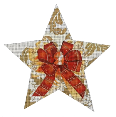 115d Gold Damask Tree Topper Star