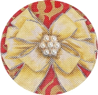 CO-20c Gold Bow Christmas Ball w/ Jewel