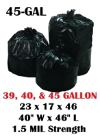 "45 Gallon Trash Bags 45 Gal Garbage Bags Can Liners - 23 x 17 x 46 - 40""W x 46L"" 1.5-MIL Gauge BLACK 100"