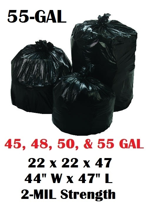 55 Gallon Trash Bags Garbage Can Liners 43 Wide X 47 Long 2 0 Mil Super