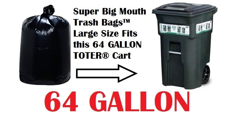 64 Gallon Garbage Bag Can Liners Super Mouth Trash Bags Large Size 50 X 58 30 Count