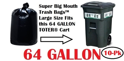 64 Gallon Trash Bags Super Big Mouth Trash Bags 10 Pack