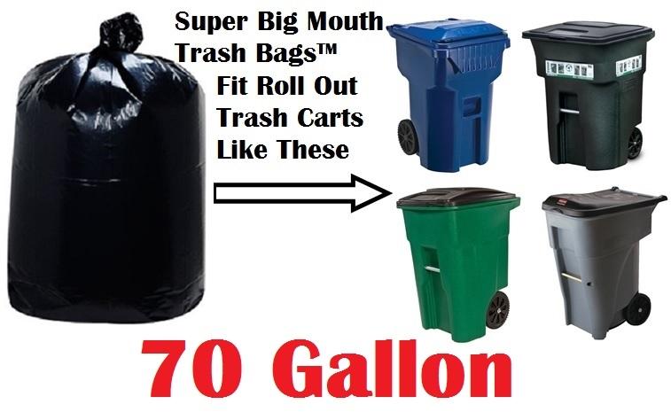 70 Gallon Trash Bags Super Mouth Large Size 50 X 58