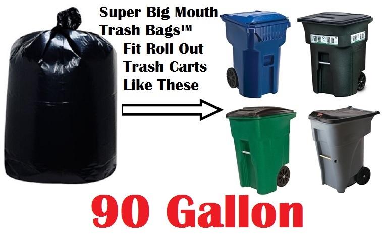 032668ec16c 90 Gallon Trash Bags Super Big Mouth Trash Bags X-Large Industrial 90 GAL  Garbage
