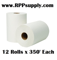 "8"" Bleached White Hardwound Commercial Dispenser Roll Towels 12 Rolls x 350' Each"