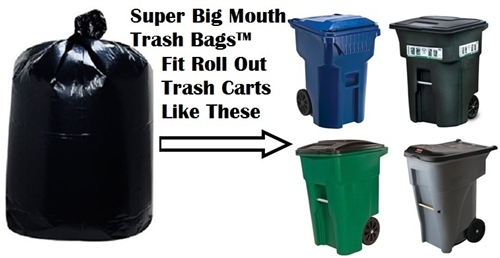 7bdbe2178ec3f1 96 Gallon Trash Bags, Garbage Can Liners, Huge Giant Extra Large Bags for  Waste Management, Toter, Rubbermaid Carts