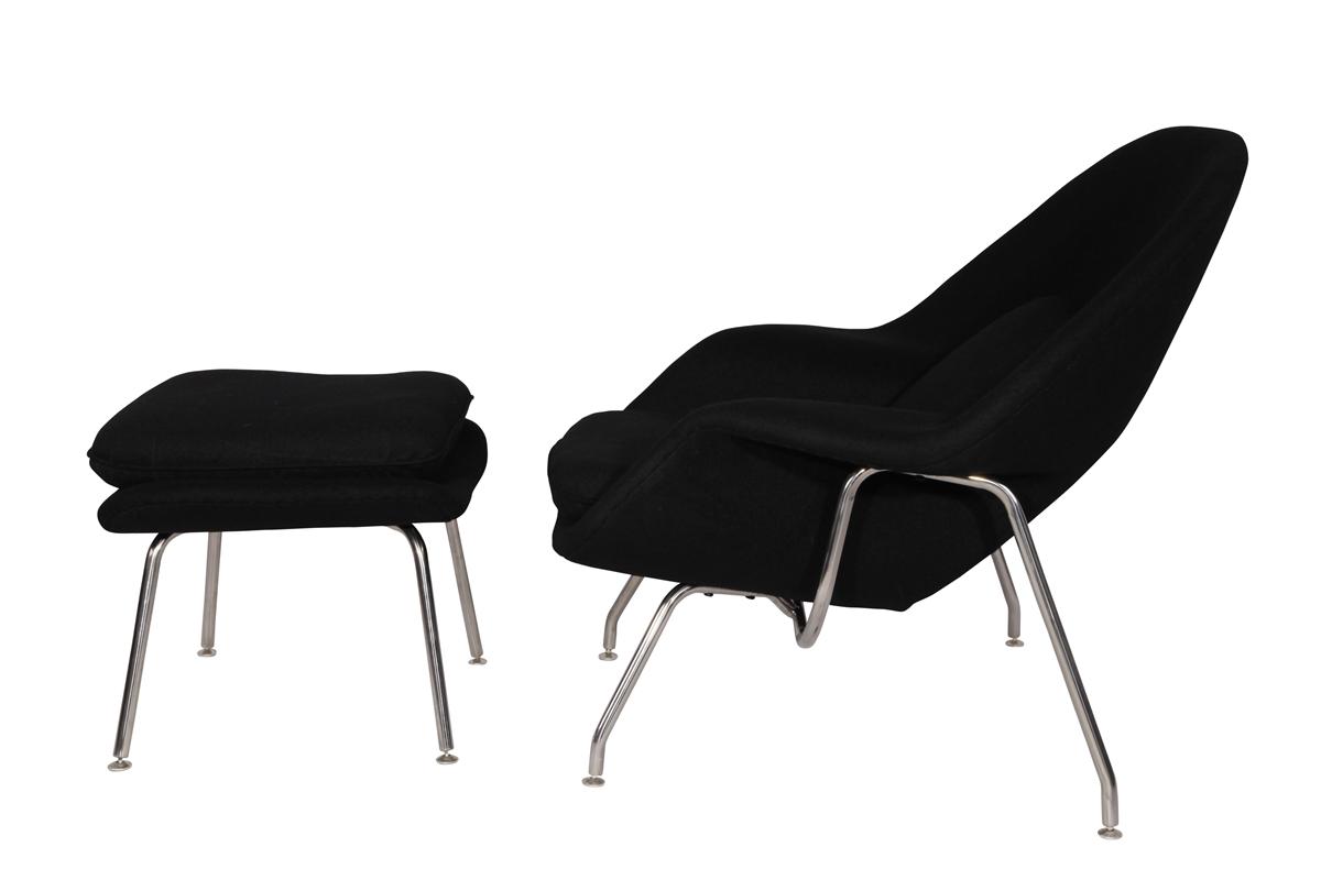 Eero Saarinen Style Womb Chair and Ottoman Set in Black