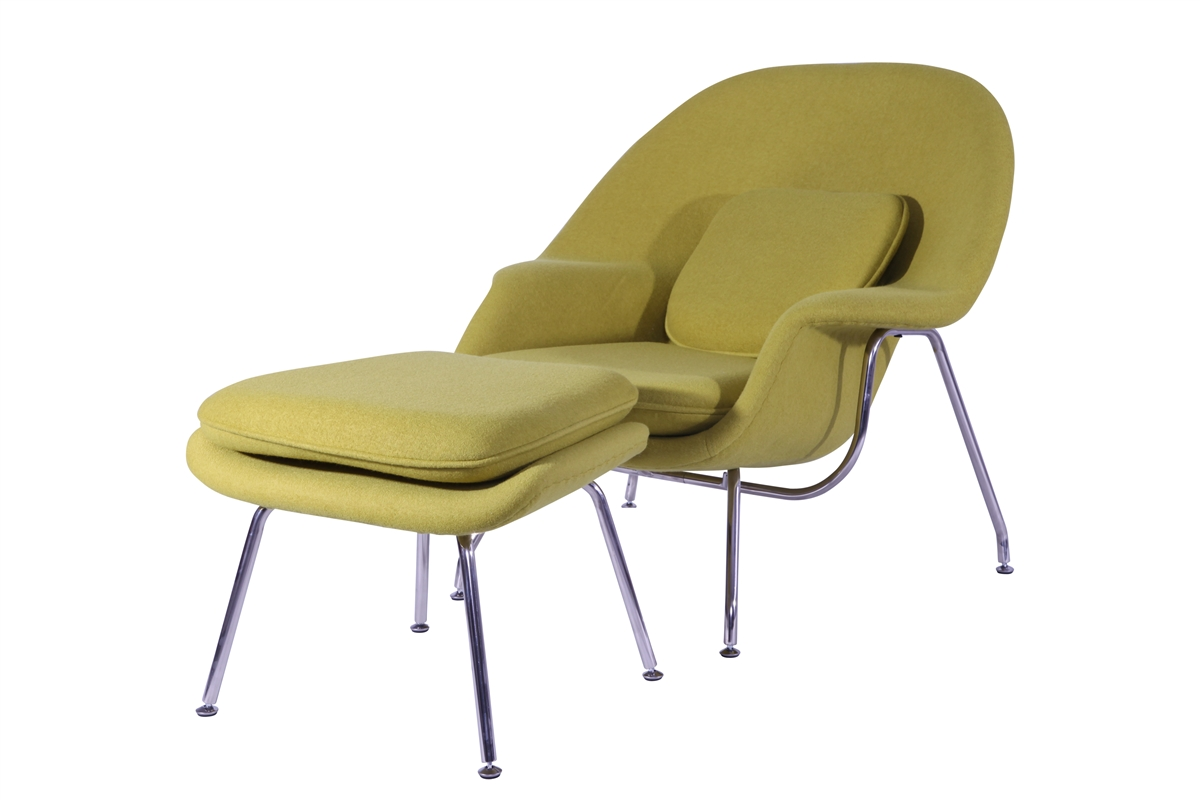 Eero Saarinen Style Womb Chair and Ottoman Set in Aged Yellow  sc 1 st  H&ton Modern & Eero Saarinen Style Womb Chair and Ottoman Set in Black
