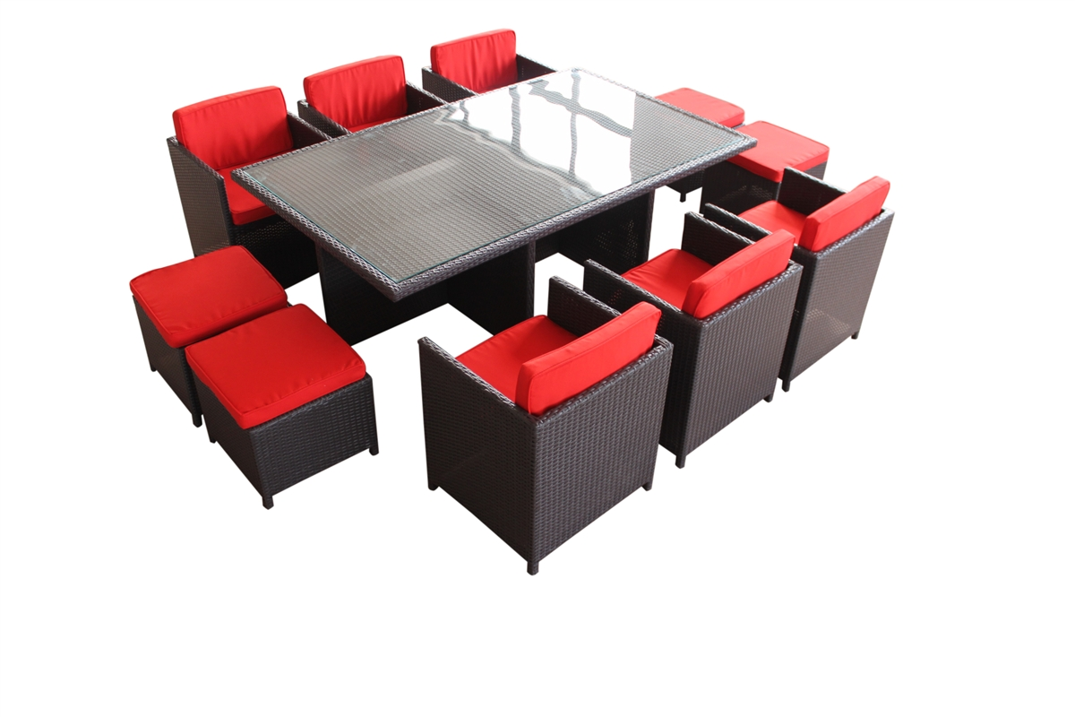Outdoor Rattan 11 Piece Dining Set With Red Cushions