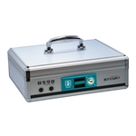 Portable Aluminum Cash Box with Money Tray and Key Lock, Carrying Handle, B598