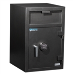 a large black front loading depository safe with 2 digital key pads made by protex safe