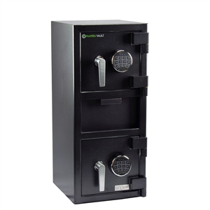 a large black front loading depository safe with 2 digital key pads made by mamba vault