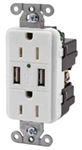Hubbell USB Charger Receptacle Tamper-Resistant Duplex