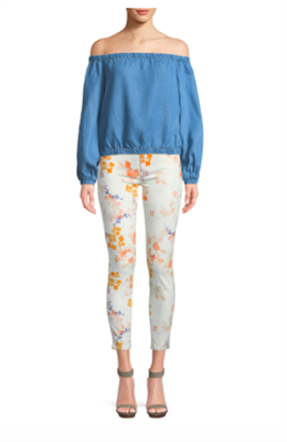 off white skinny jeans with orange flowers