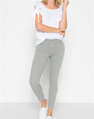 gray ankle skinny jeans with released hem