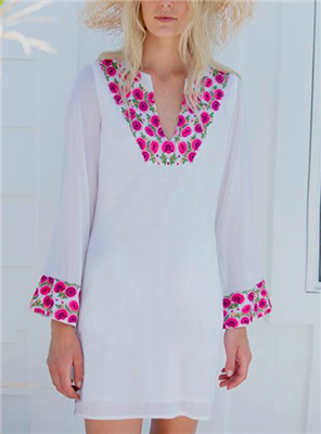 white v-neck cotton shirtdress with flower embroidery and bell sleeves