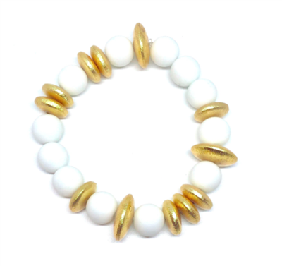 women's stretch bracelet with white and gold beads