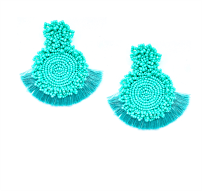 women's pierced turquoise fringe earrings