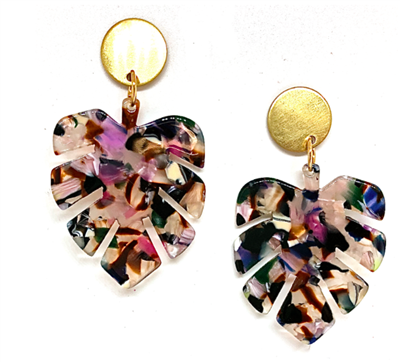 women's acrylic earrings shaped like a palm leaf in multi colors with brass stud